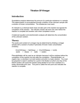 concentration of acetic acid in vinegar lab