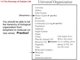You should be able to list the hierarchy of biological organization
