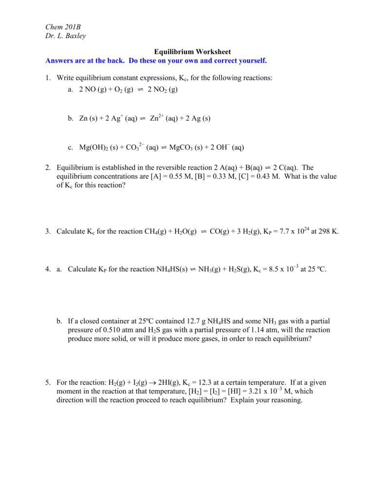 worksheet Chemical Equilibrium Worksheet Answers dr baxleys equilibrium worksheet