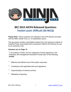 BEC 2015 AICPA Released Questions Testlet