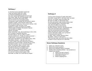 Soliloquy I Soliloquy II Seven Soliloquy Questions