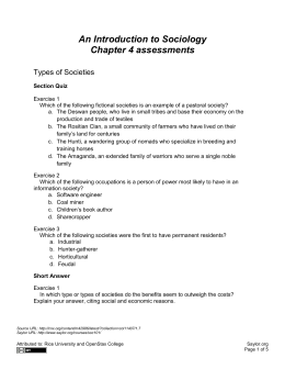 An Introduction to Sociology Chapter 4 assessments