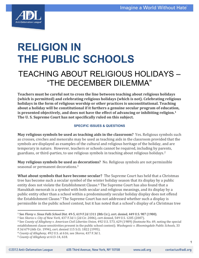 Religion In The Public Schools Teaching About Religious Holidays