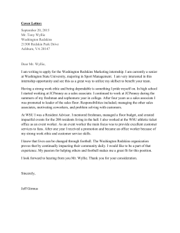 Cover Letter: September 20, 2015 Mr. Tony Wyllie