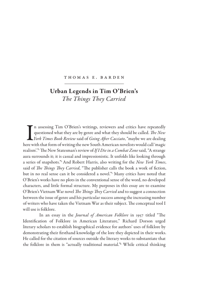 Urban Legends in Tim O'Brien's The Things They Carried