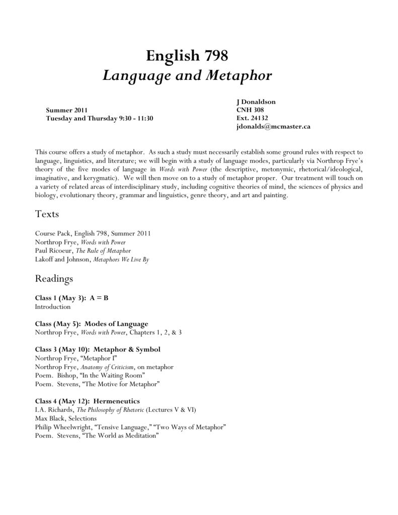 English 798 Language and Metaphor