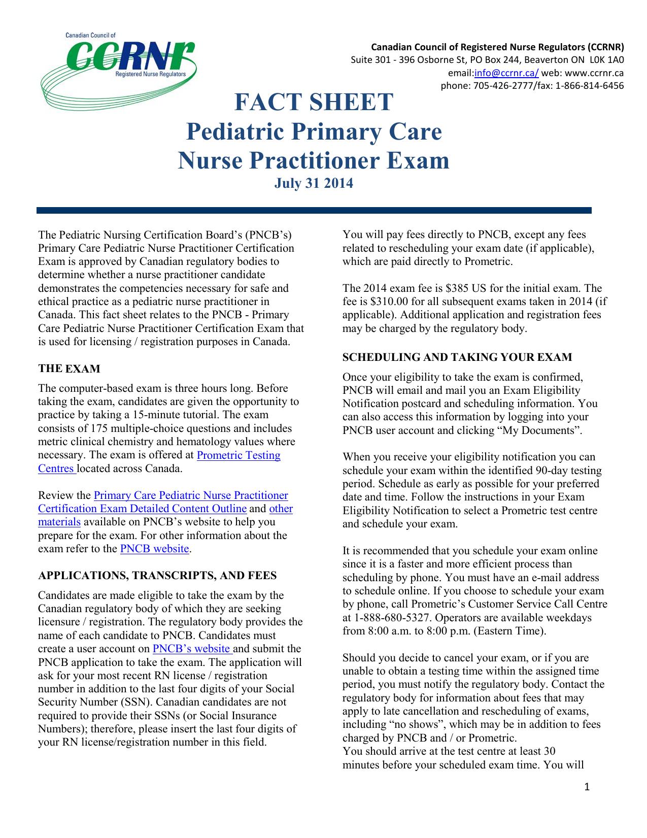 Fact Sheet Pediatric Primary Care Nurse Practitioner Exam