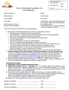 Cherry Hill Education Foundation, Inc. Grant Application