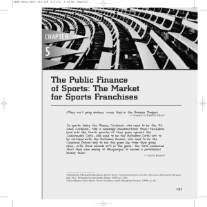 The Public Finance of Sports: The Market for Sports Franchises