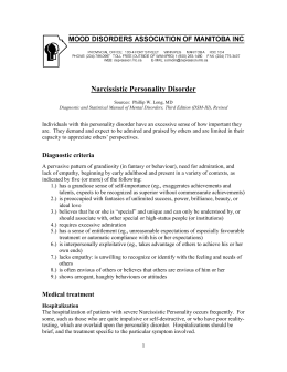 Narcissistic Personality Disorder - Mood Disorders Association of