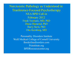 Narcissistic Pathology as Understood in Tranference