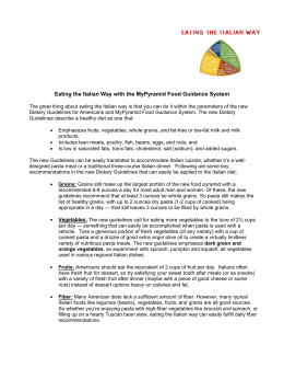 Eating the Italian Way with the MyPyramid Food Guidance System