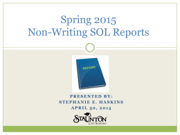 Spring 2015 Non-Writing SOL Reports