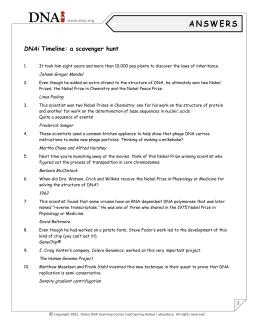 Dnai timeline a scavenger hunt dnai timeline a scavenger hunt ibookread Read Online