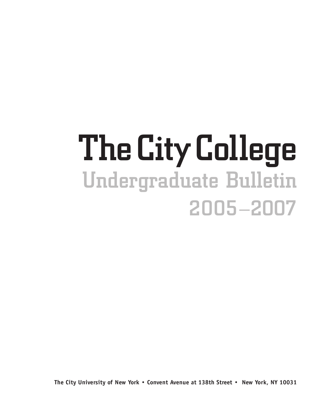 Undergraduate Bulletin - The City College of New York