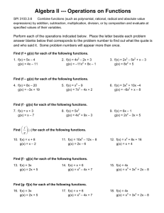 Algebra II --- Operations on Functions