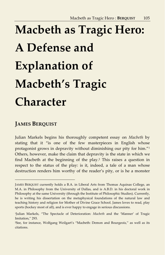 Macbeth As Tragic Hero A Defense And Explanation Of