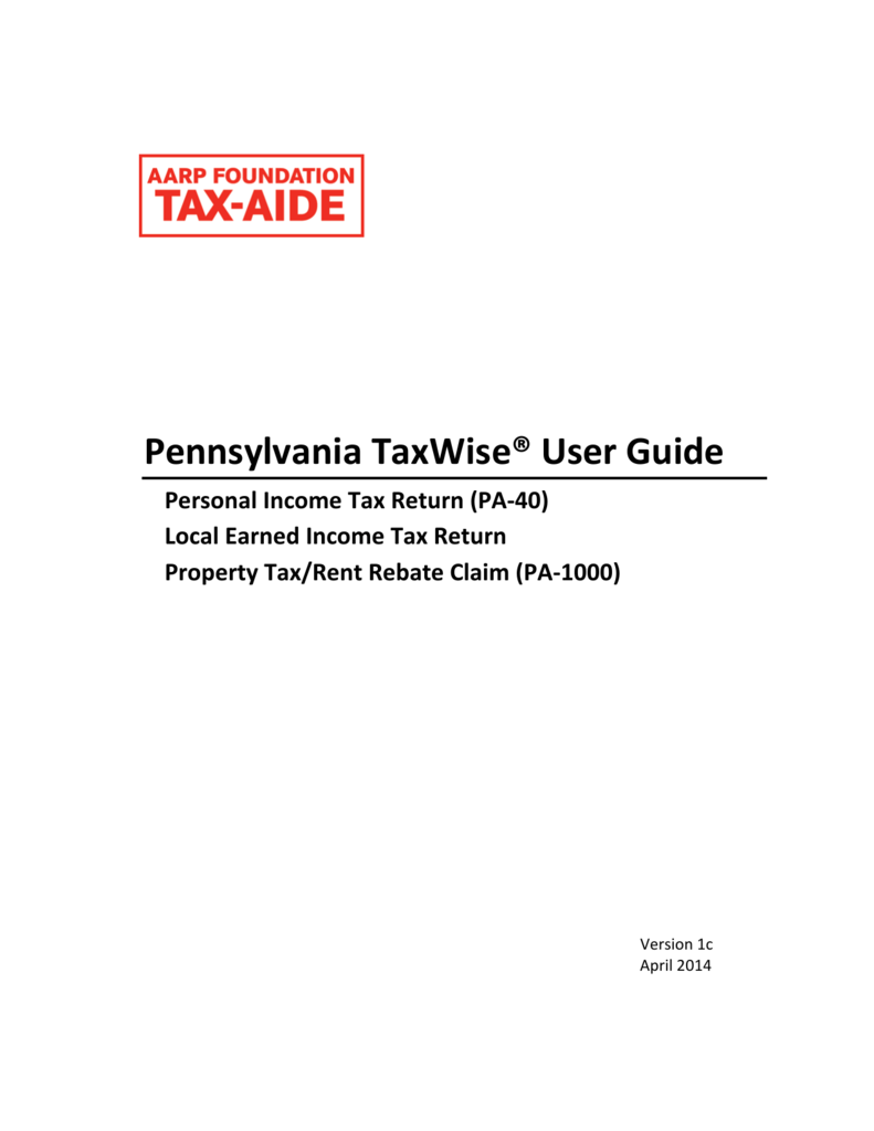 Pa Taxwise User Guide Arizona Aarp Tax Aide