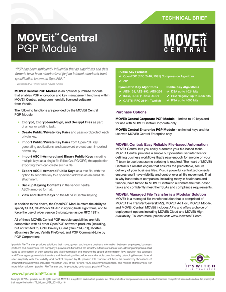 MOVEit™ Central PGP Module