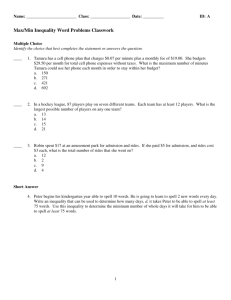 ExamView - MaxMin Inequality Word Problems Classwork.tst
