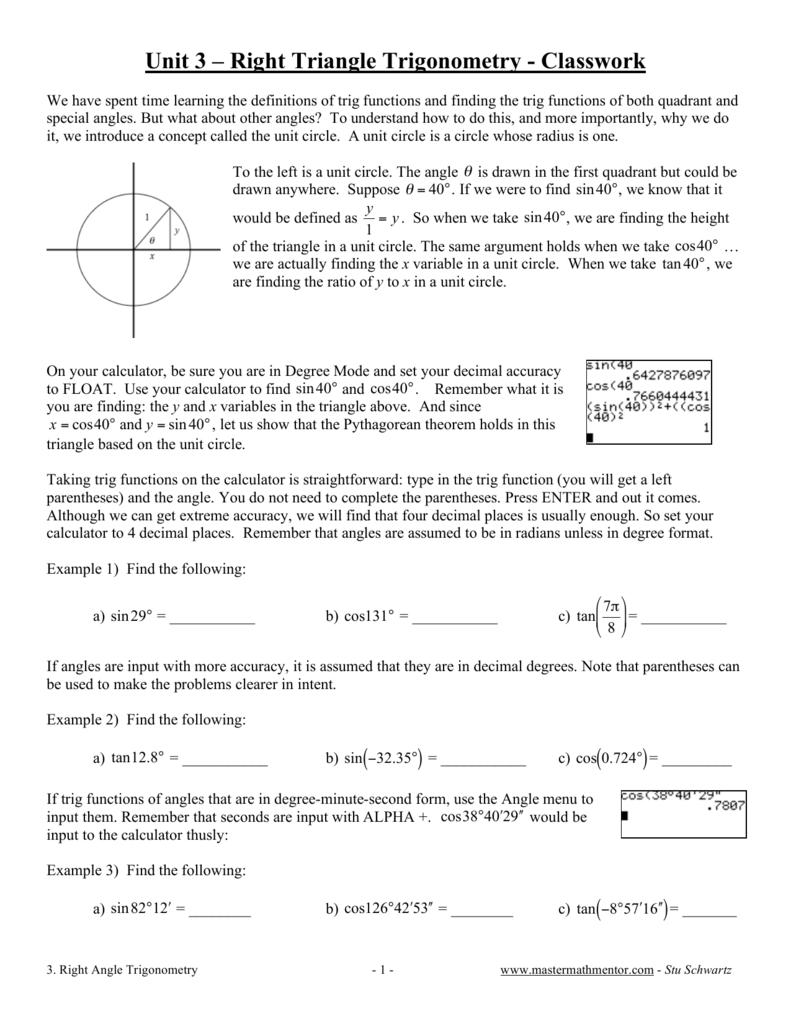 Unit 3 Right Triangle Trigonometry