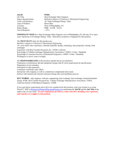 Heat Exchanger Sales Engineer Degree Requirements