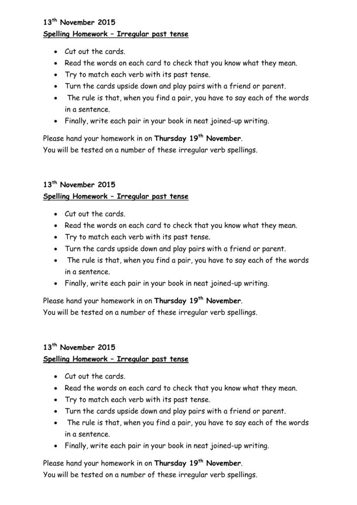 13th November 2015 Spelling Homework – Irregular past tense