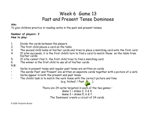 Week 6 Game 13 Past and Present Tense Dominoes