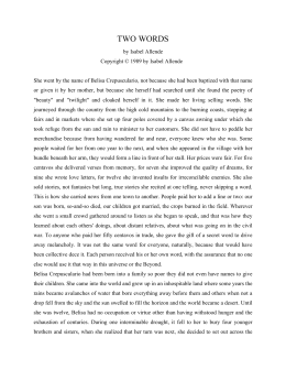 Two words by isabel allende essay