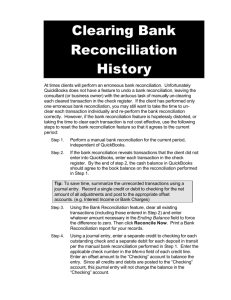 Clearing Bank Reconciliation History