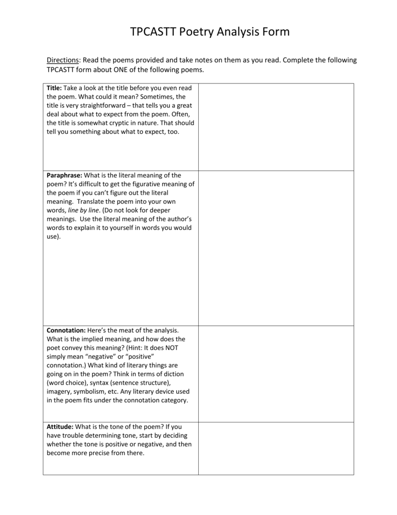 Tpcastt Poetry Analysis Form