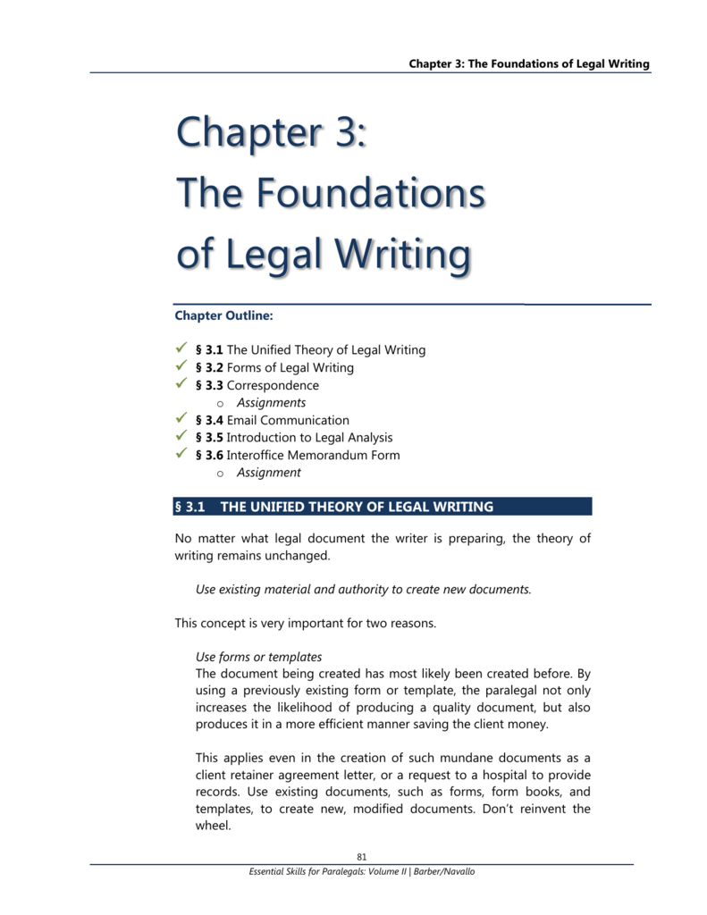 Chapter 3 The Foundations Of Legal Writing