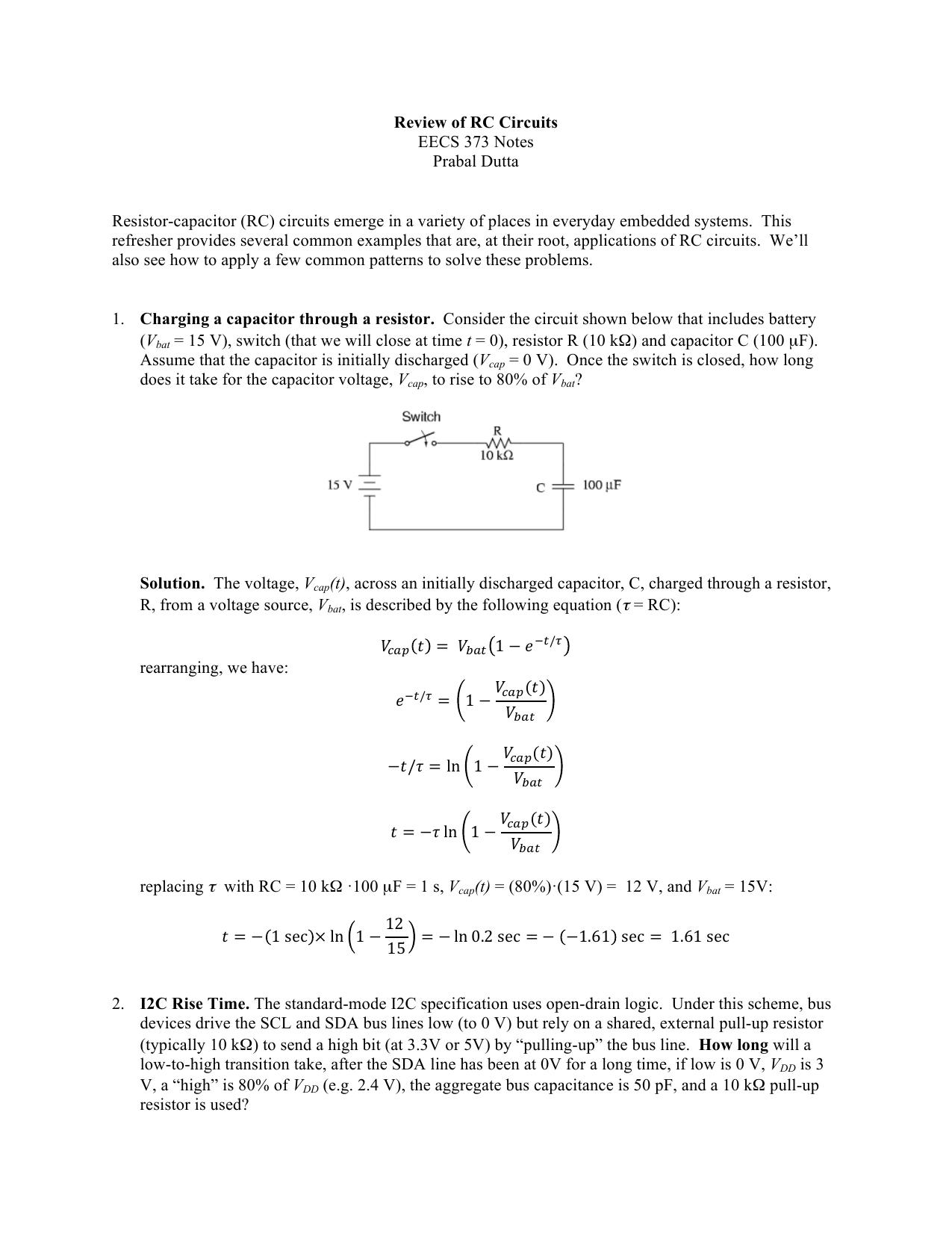Review Of Rc Circuits Eecs 373 Notes Prabal Dutta Resistor Capacitor Charging And Discharging Circuit