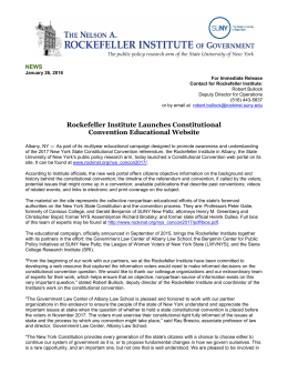Rockefeller Institute Launches Constitutional Convention