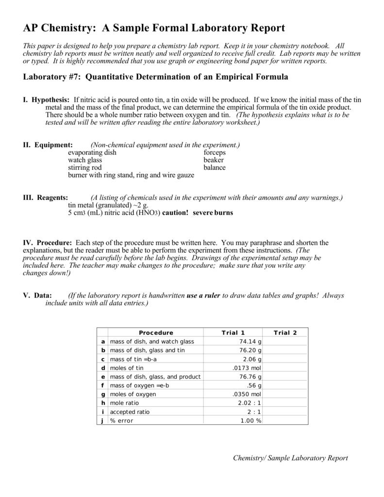 formal lab report empirical formula Experiment 7 empirical formula of magnesium oxide chem 110 lab before coming to the lab report experiment 7 empirical formula of magnesium oxide.