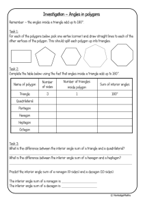 Investigation – Angles in polygons
