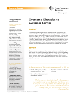 Overcome Obstacles to Customer Service
