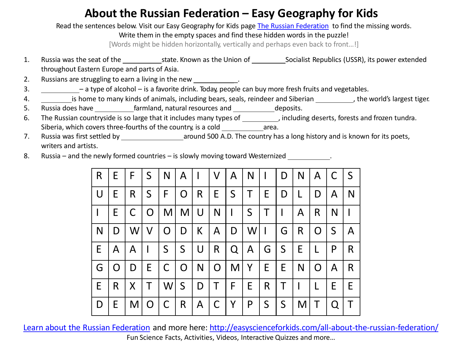 About the Russian Federation – Easy Geography for Kids