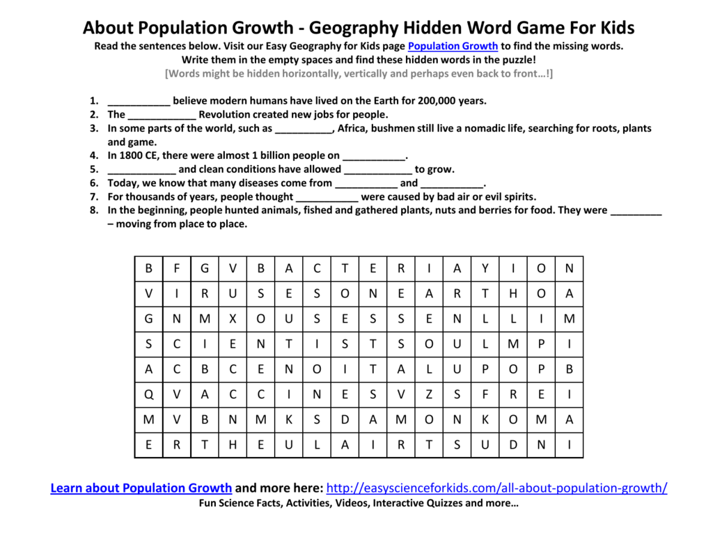 About Population Growth Geography Hidden Word Game For Kids