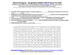 About Paraguay - Geography Hidden Word Game For Kids