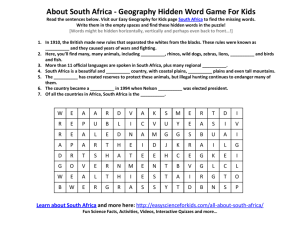 About South Africa - Geography Hidden Word Game For Kids