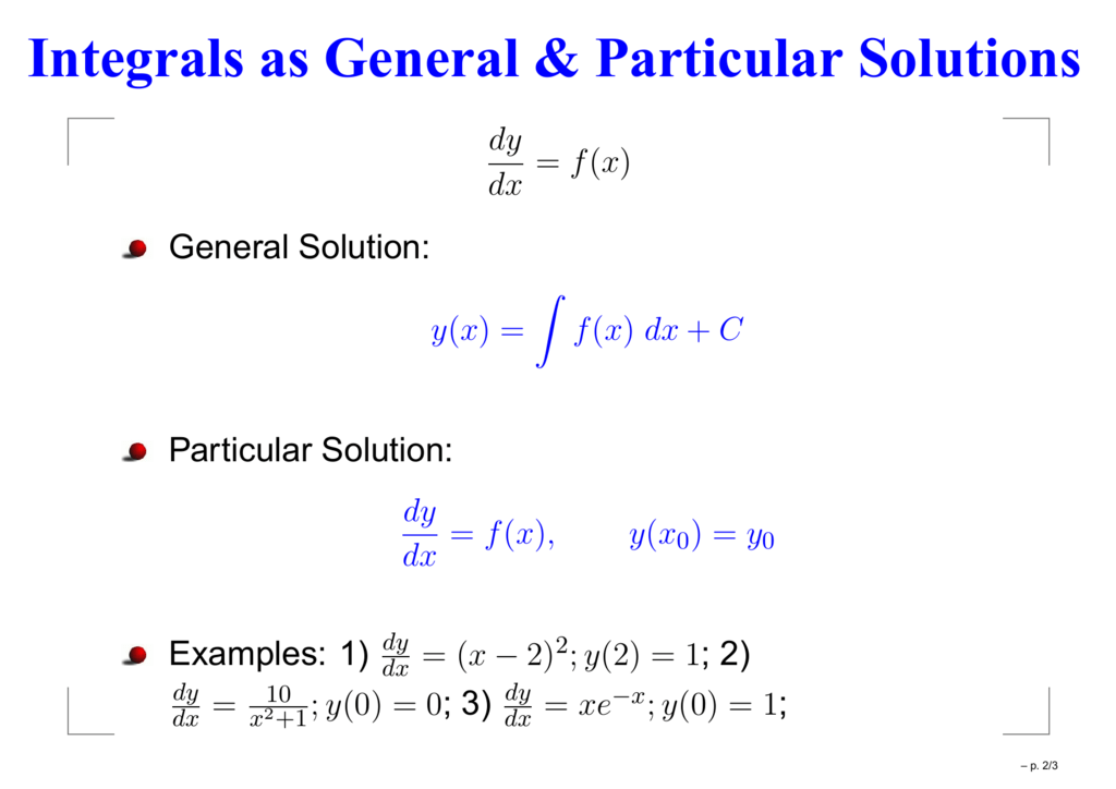 Integrals As General Particular Solutions Can someone perhaps help me see this through? integrals as general particular solutions