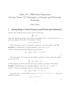 1.2 Integrals as General and Particular Solutions