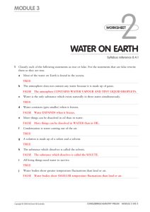 WATER ON EARTH