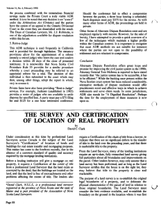 the survey and certification of location of real property