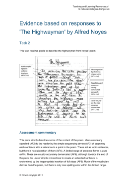 Evidence based on responses to 'The Highwayman' by