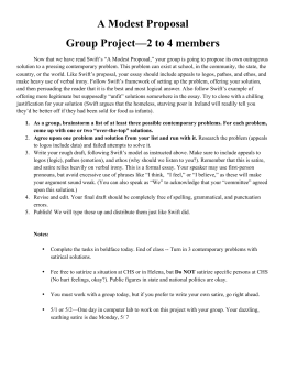 A Modest Proposal Group Project—2 to 4 members