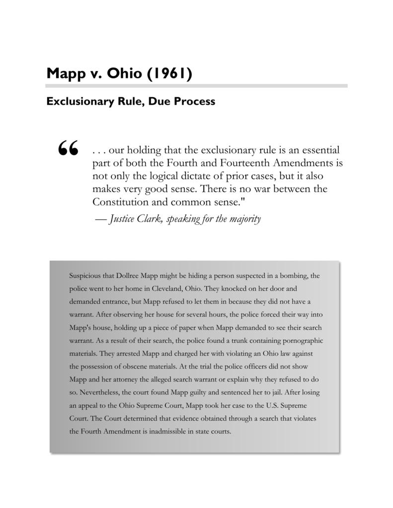 mapp v ohio case brief reasoning