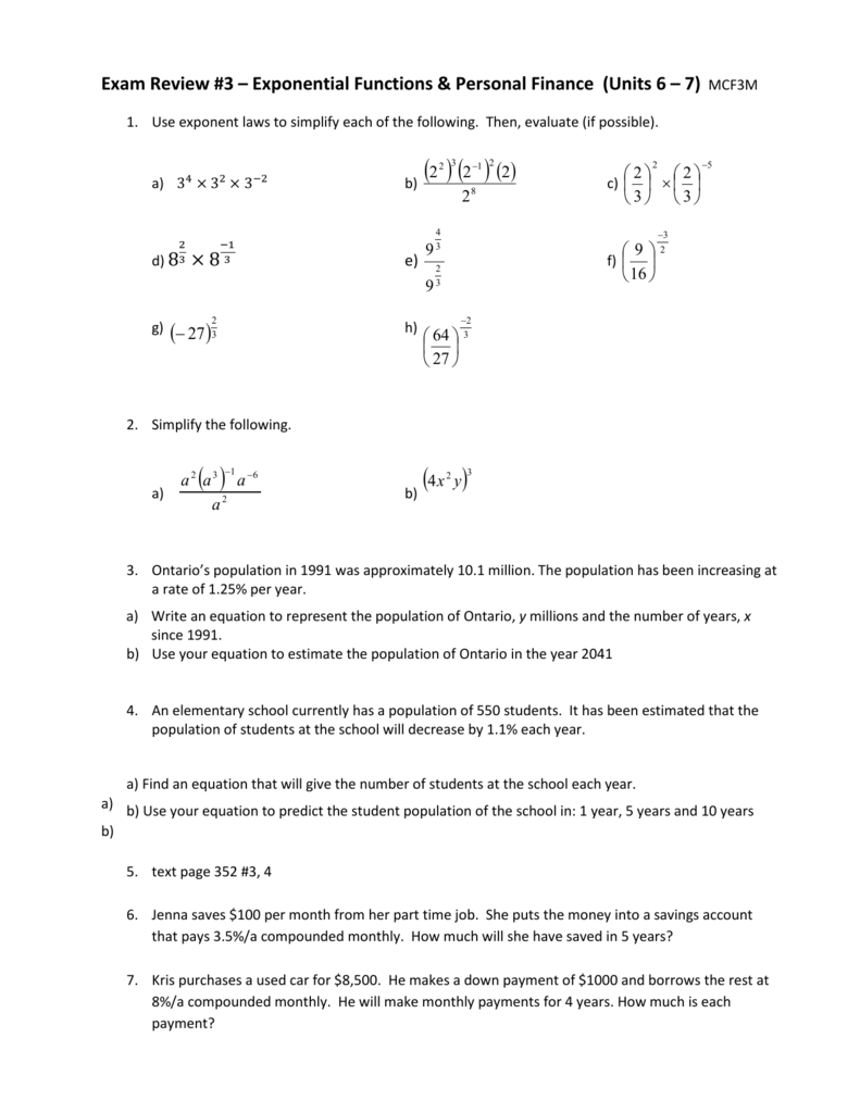 Exam Review #3 – Exponential Functions & Personal Finance (Units