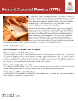 Personal Financial Planning - Haskayne School of Business